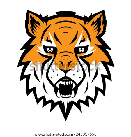 Tiger Logo Team Symbol Sport Mascot Icon Isolated Vector Illustration - stock vector
