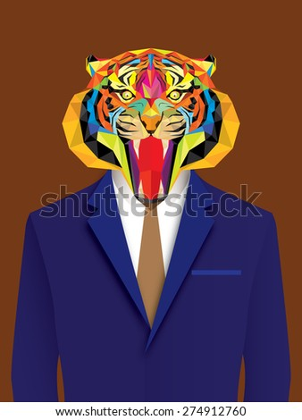 Tiger man with geometric style - stock vector
