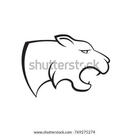tiger or lion head in black outline-vector drawing