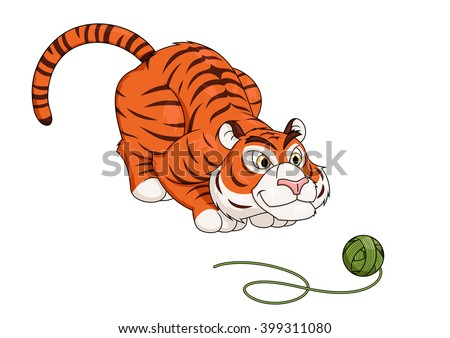 Tiger play with ball of thread 2 - stock vector