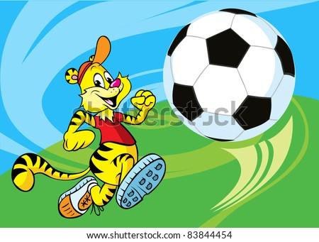 Tiger runs a soccer ball - stock vector