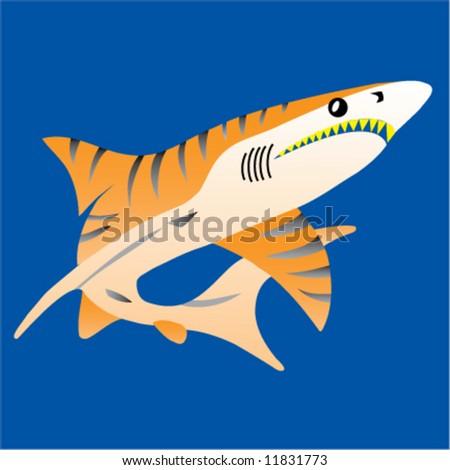 Tiger Shark Logo Tiger Shark Stock Vector