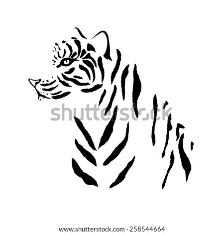 Tiger silhouette. Vector pattern