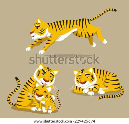 Tiger Sleeping Running and leaking baby. Vector illustration cartoon. - stock vector