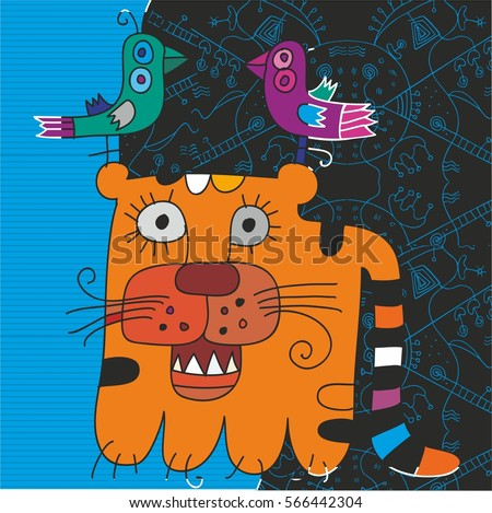 Tiger storyteller. Style graphics with bright local colors.