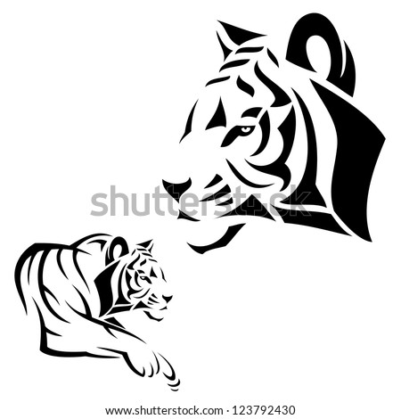 Tiger tattoo - vector illustration - stock vector