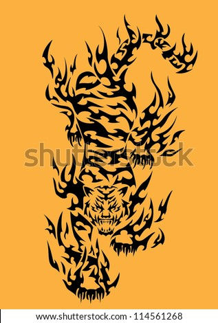 Tiger Tribal Tattoo - stock vector