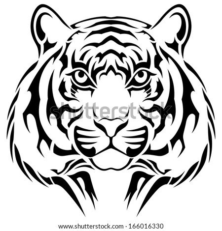 Tiger, tribal tattoo - stock vector