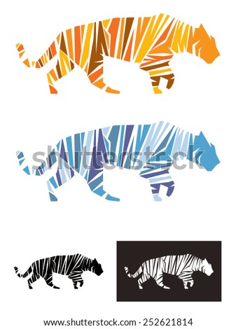 Tiger vector illustration template, An illustration representing a tiger formed by shapes define the figure by the stripes. Available as a normal tiger and snow tiger, also in black and white. - stock vector