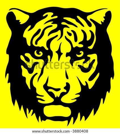 Tiger warning sign - stock vector
