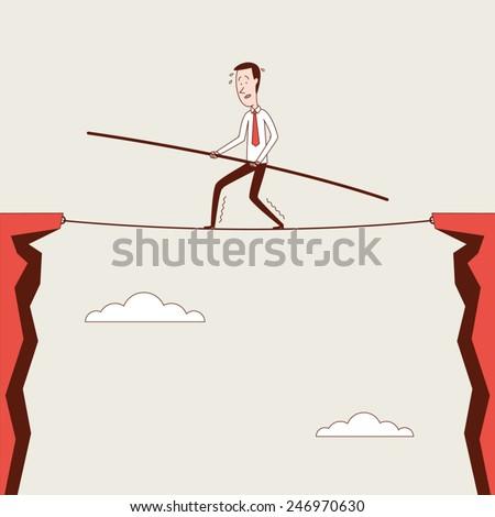 Tightrope Walker - stock vector
