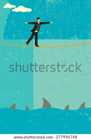 Tightrope walker A retro businessman taking a big risk by walking a tightrope over sharks.  - stock vector