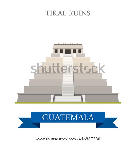 Tikal Ruins in Guatemala. Flat cartoon style historic sight showplace attraction web site vector illustration. World countries cities vacation travel sightseeing Central America collection. - stock vector