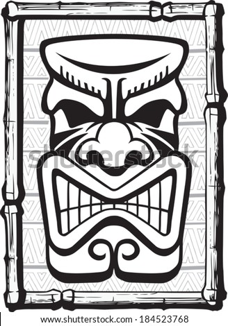 Tiki Also. Illustrated Tiki. Layered vector file available. - stock vector