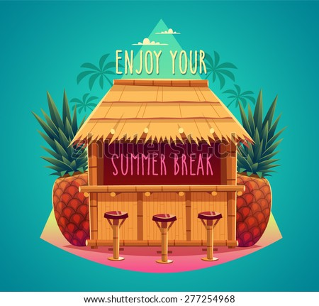 Tiki bar. Summer card / poster / template. Vector illustration. - stock vector