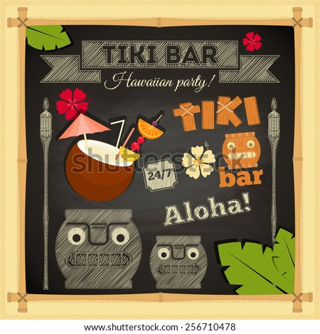 Tiki Bar. Summer Hawaii Card on Chalkboard. Vector Illustration.  - stock vector