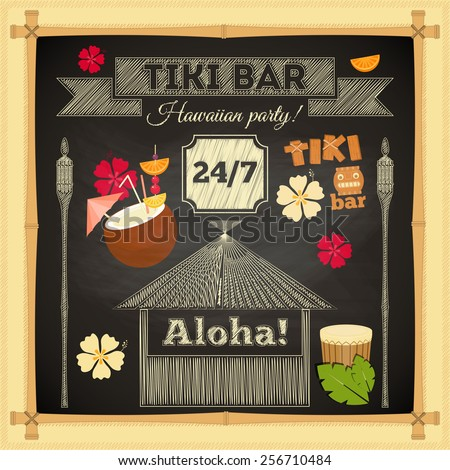 Tiki Bar. Summer Hawaii Card on Chalkboard with Bamboo Frame. Vector Illustration.  - stock vector