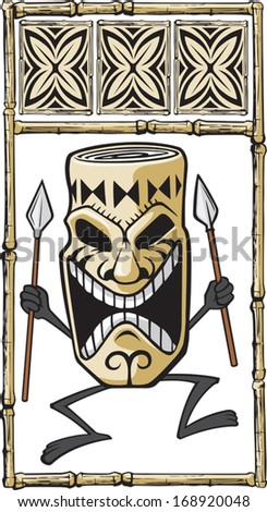 Tiki Dude  Cartoon of a dancing Tiki. Layered vector file. - stock vector