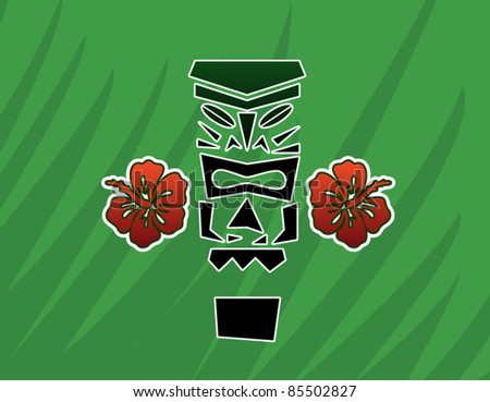 Tiki God Statue with Hibiscus - stock vector