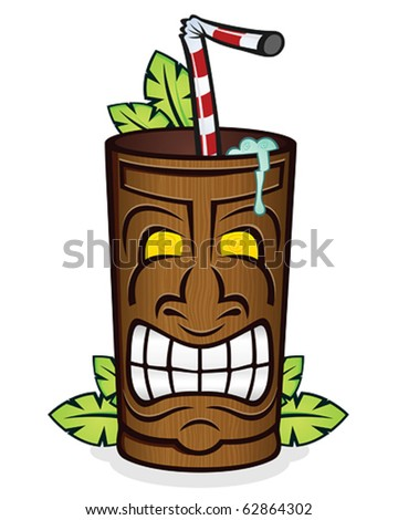 Tiki God Wooden Cup Cartoon Character - stock vector