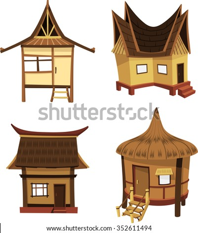 Tiki Home Collection-Variation of Cottage/ Beach Huts in the tropics - stock vector