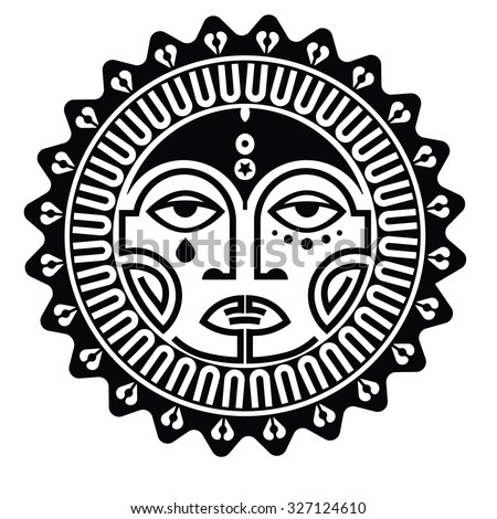 Tiki is human-like figure that represents Polynesian semi-gods. Tiki used  as the Maori amulets and rituals  and in tattoo art. Sacred sign and symbols.Human emotion - happy. Stock vector. - stock vector