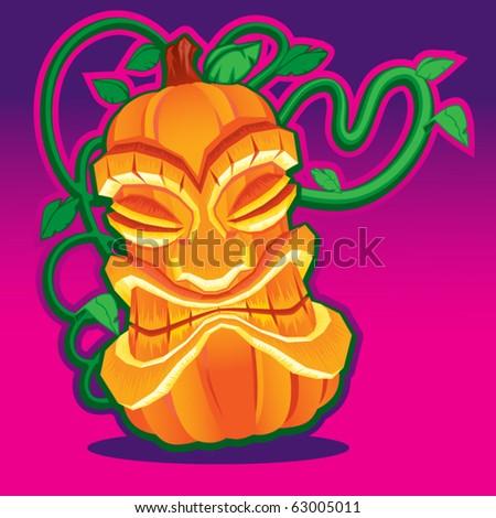 Tiki Voodoo Pumpkin - stock vector
