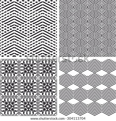 Tile black and white vector pattern set or nordic background collection