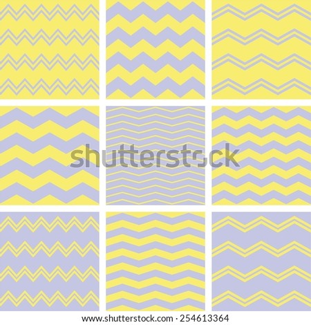 Tile chevron vector pattern set with grey and yellow zig zag background - stock vector