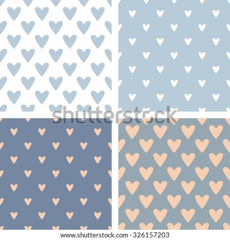 Tile cute vector pattern set with hand drawn hearts on blue background
