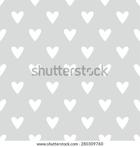Tile cute vector pattern with hand drawn white hearts on grey background