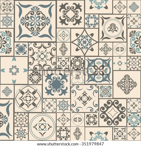 Tile PATTERN from RETRO blue-beige style Moroccan tiles, ornaments. Can be used for wallpaper, surface textures, cover etc. Vintage