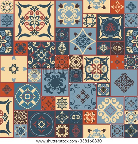 Tile PATTERN from RETRO blue-orange-red-beige style Moroccan tiles, ornaments. Can be used for wallpaper, surface textures, cover etc. Vintage - stock vector