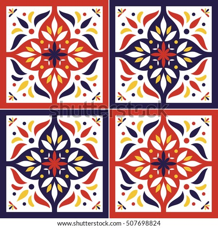 Tile Pattern Vector Seamless With Flowers Motifs. Azulejo Portuguese Tiles,  Spanish, Moroccan,