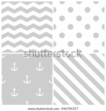 Tile sailor vector pattern set with grey polka dots, zig zag and stripes on white background