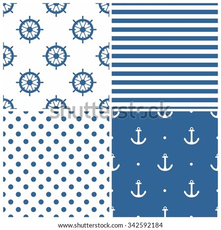 Tile sailor vector pattern set with white anchor, polka dots, stripes and rudder on white and blue background