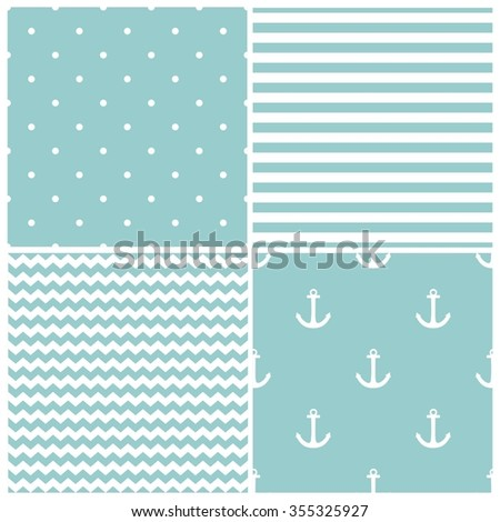 Tile sailor vector pattern set with white polka dots, zig zag and stripes on blue background