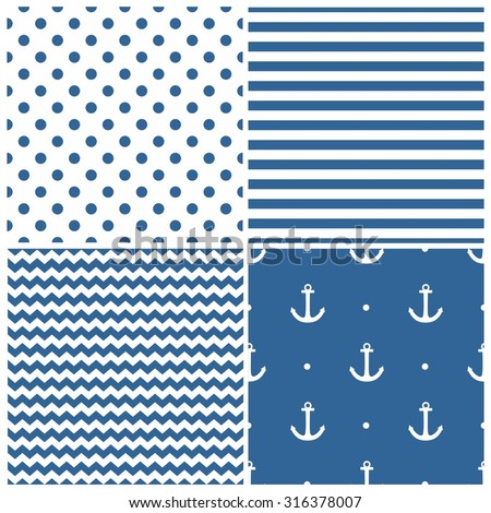 Tile sailor vector pattern set with white polka dots, zig zag and stripes on navy blue background
