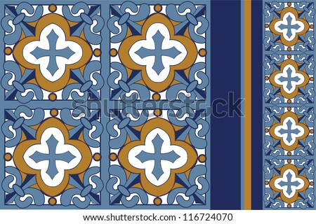 Tile set designed in the talavera style featuring shades of blue and gold. - stock vector
