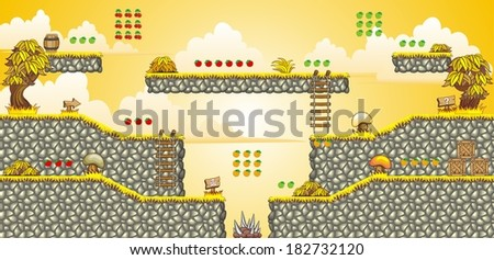 Tile set Platform for Game - A set of vector game asset, contains ground tiles and several items / objects / decorations, used for creating mobile games - stock vector