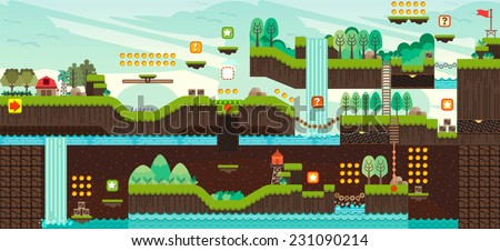 Tile set Platform for Game, Seamless vector pattern for games design, illustrator vector flat style - stock vector