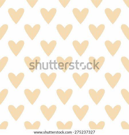 Tile vector pastel pattern with hearts on white background