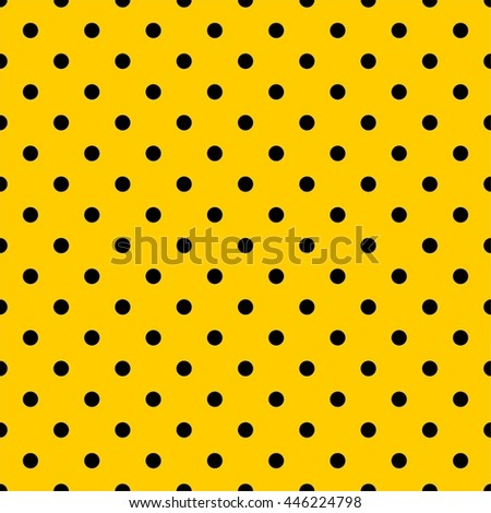 Tile vector pattern with black polka dots on yellow background