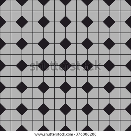Tile vector pattern with grey, black and white floor background for decoration wallpaper - stock vector