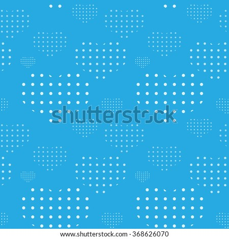 Tile vector pattern with hearts on blue background - stock vector