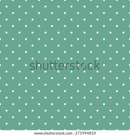 Tile vector pattern with small white polka dots on mint green background - stock vector
