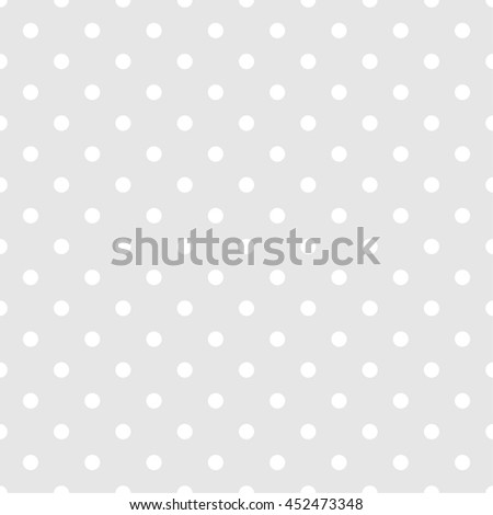 Tile vector pattern with white polka dots on grey background