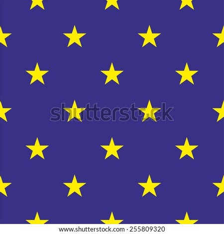Tile vector pattern with yellow stars on dark blue background