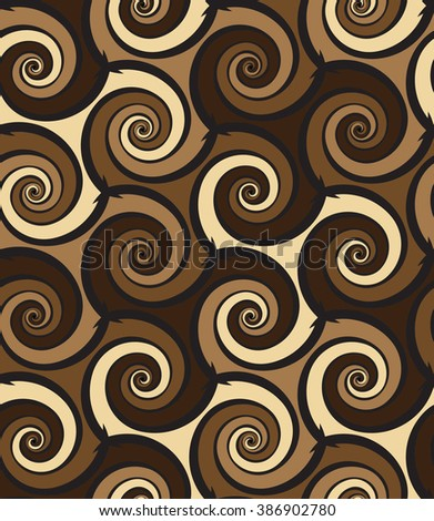 Tileable creative sinuous warp op twisty shape tracery light cocoa with dark choco coffee color curvy bent spread stripes. Retro art billowy curvy form meander winding style distorted template fond - stock vector