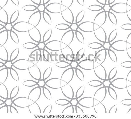 Tileable recurring sinuous warp op twisty ripply shape light white color with dark grey squiggly curvy ribbon with intricate nodes. Retro art style billowy loop form meander template fond surface - stock vector